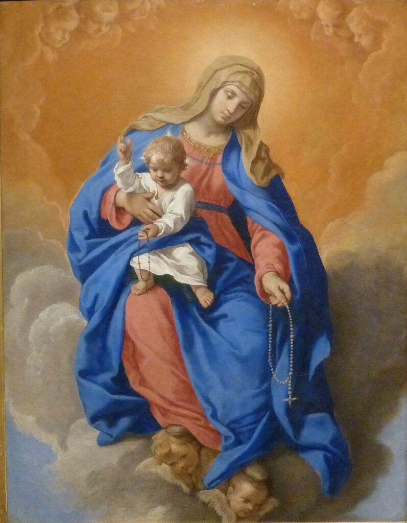 Madonna del Rosario, Our Lady of the Rosary, painted by Simone Cantarini, circa 1640