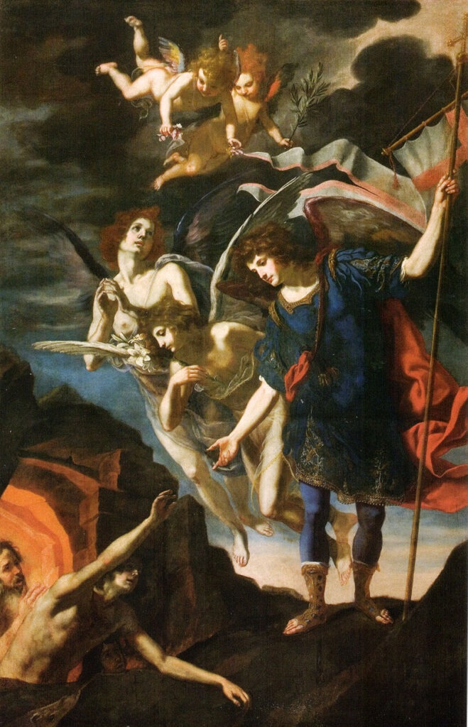The Archangel Michael reaching to free souls from Purgatory, by Jacopo Vignali, 17th century