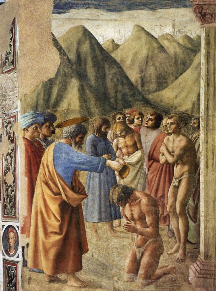 The Baptism of the Neophytes by Masaccio